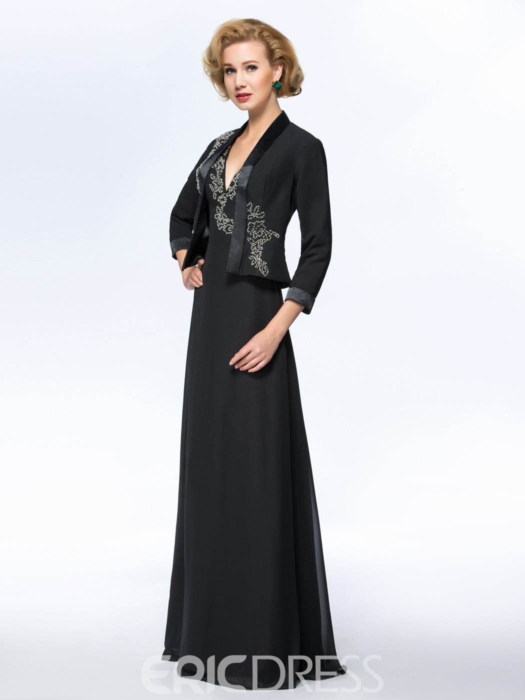 Classy V-Neck Long Mother Dress with Jacket/Shawl