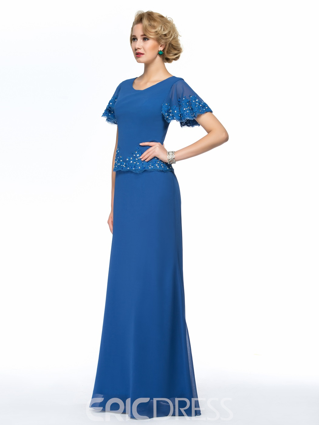 Simple Beaded Straps Floor Length Mother of the Bride Dress