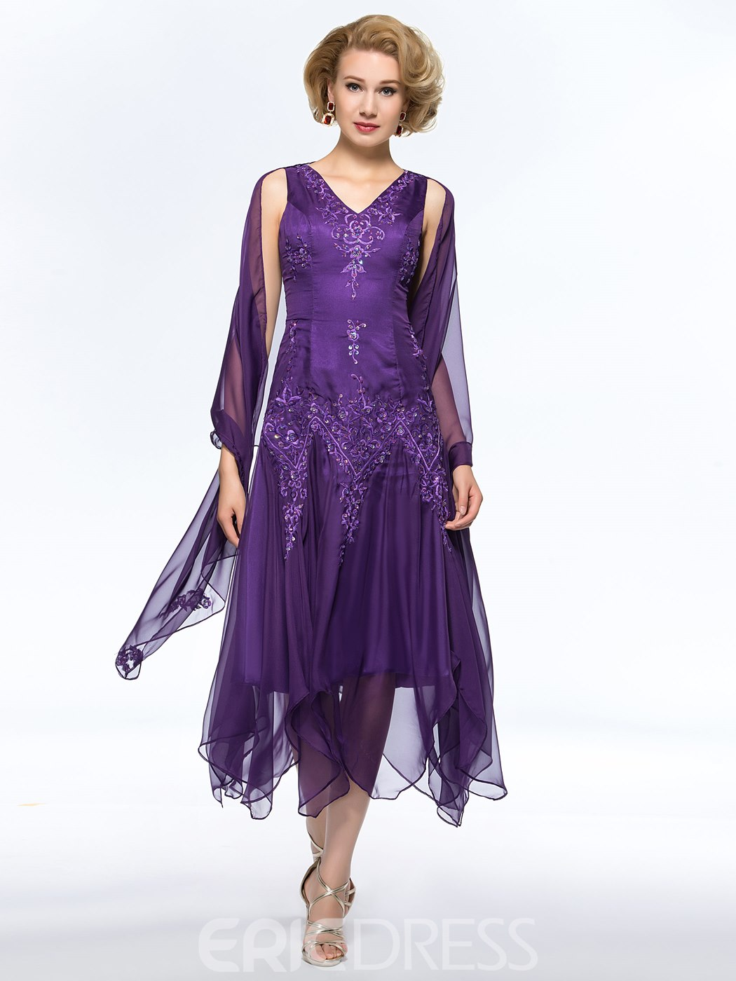 2806b585cb7 Classy A-Line V-Neck Appliques Asymmetry Mother of the Bride Dress With  Jacket Shawl(11068351)