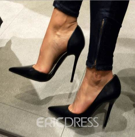 Ericdress Simple Black Pointed-toe Pumps