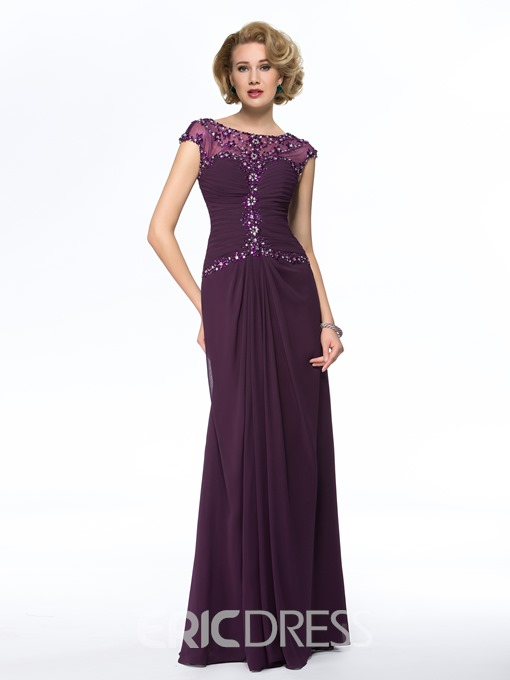 Classy A-line Bateau Neck Beadings Floor-Length Mother Dress