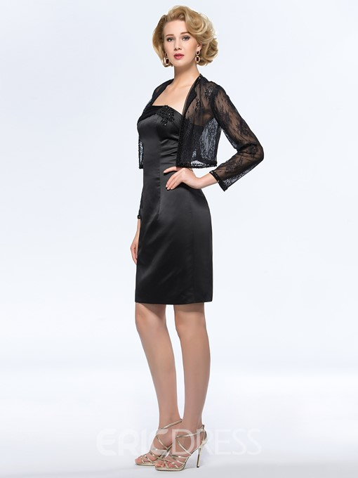 Classy Strapless Sheath/Column Knee-Length Mother of the Bride Dress With Jacket/Shawl