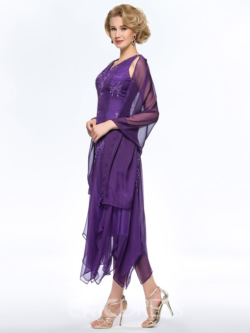 Classy A-Line V-Neck Appliques Asymmetry Mother of the Bride Dress With Jacket/Shawl