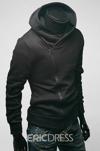 Ericdress Stand Collar Zip-Front Men's Hoodie