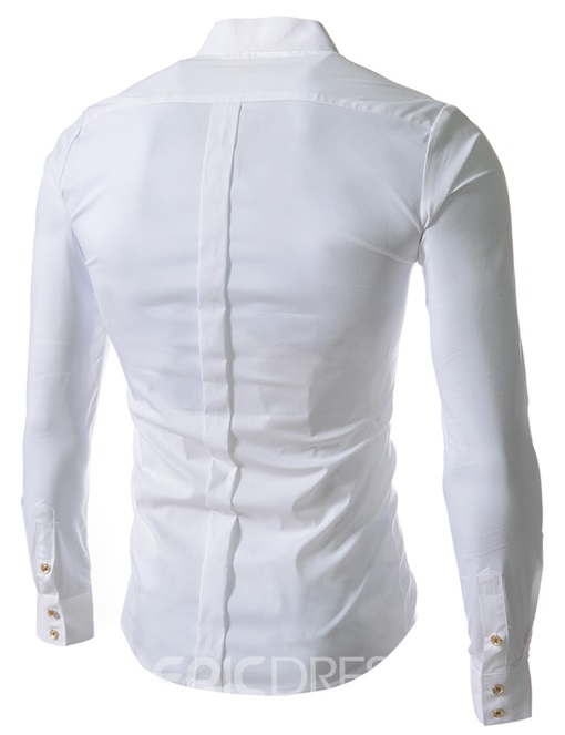Plain Stand Collar Men's Shirt