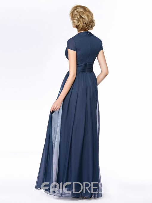 Ericdress V-Neck Cap Sleeve Long Mother Of the Bride Dress
