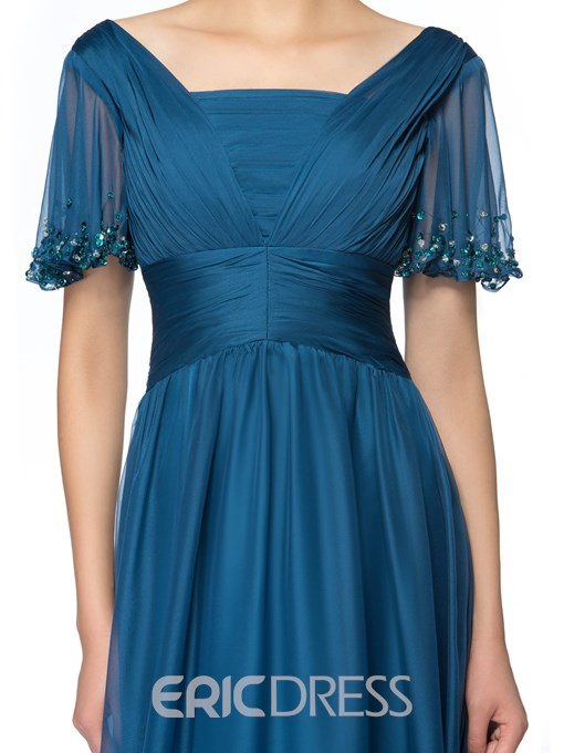 Ericdress Pleats Sequins Short Sleeves Mother of the Bride Dress