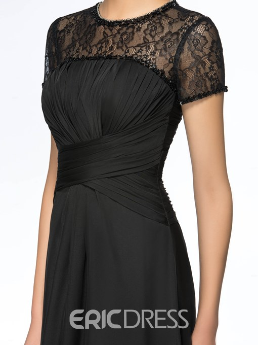Sexy A-Line Empire Jewel Lace Mother of the Bride Dress