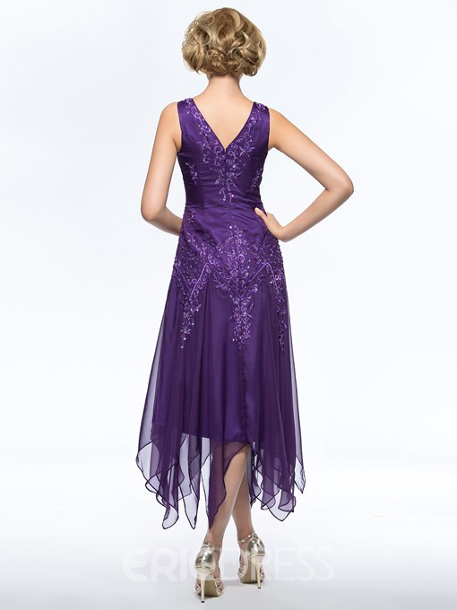 Ericdress Embroidery Asymmetry Mother of the Bride Dress