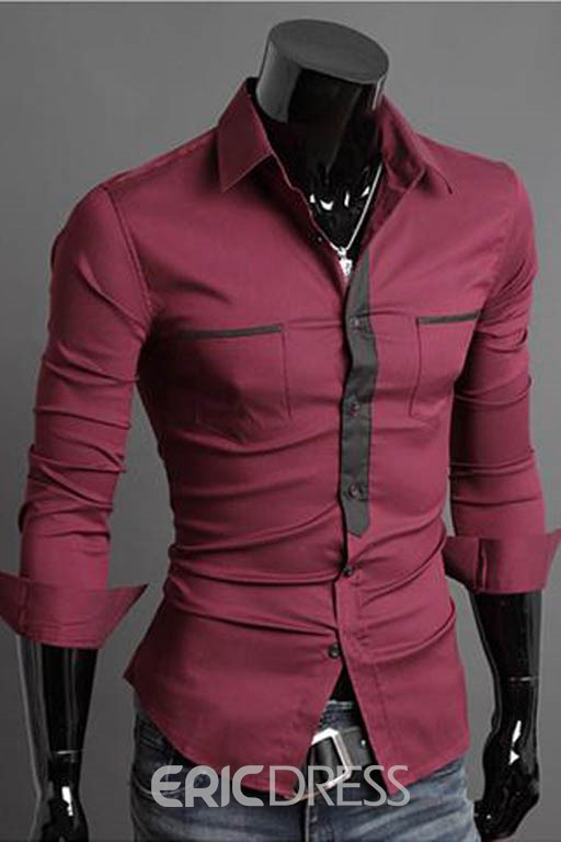 Ericdress Patchwork Double Pockets Casual Slim Men's Shirt