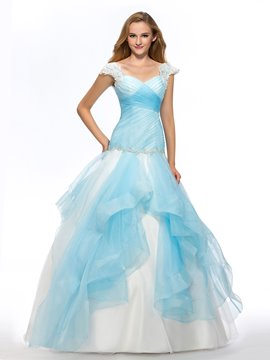 Cap Sleeves Appliques Ruched Crystal Floor-Length Quinceanera Dress