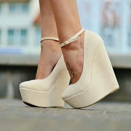 Ericdress Fashionable White Ankle Strap Wedges