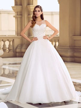Charming Scoop Neck Beading Court Train Open Back Wedding Dress