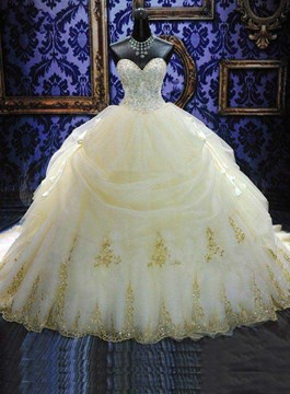 Ericdress Draped Appliques Ball Gown Wedding Dress with Train