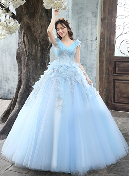 Kappe Ärmeln Stickerei Ball Gown Quinceanera Kleid