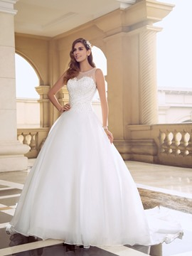 Scoop Neck Court Train Backless Wedding Dress