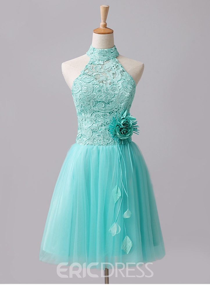 Fantastic Short Flower Halter Homecoming Dress