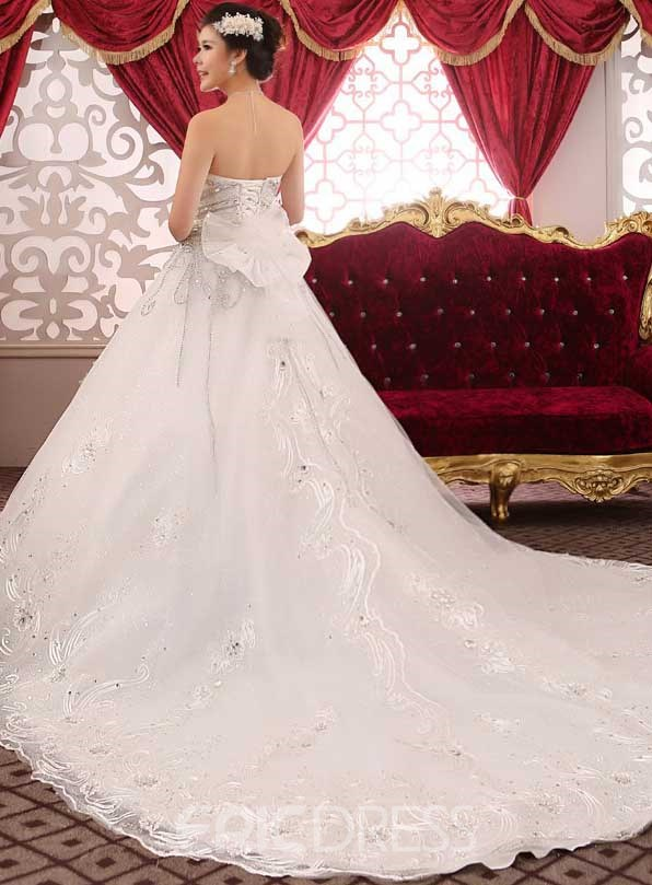 Sweetheart Rhinestone Appliques Cathedral Wedding Dress