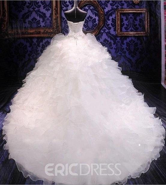 Amazing Beaded Tiered Ruffles Sweetheart Wedding Dress