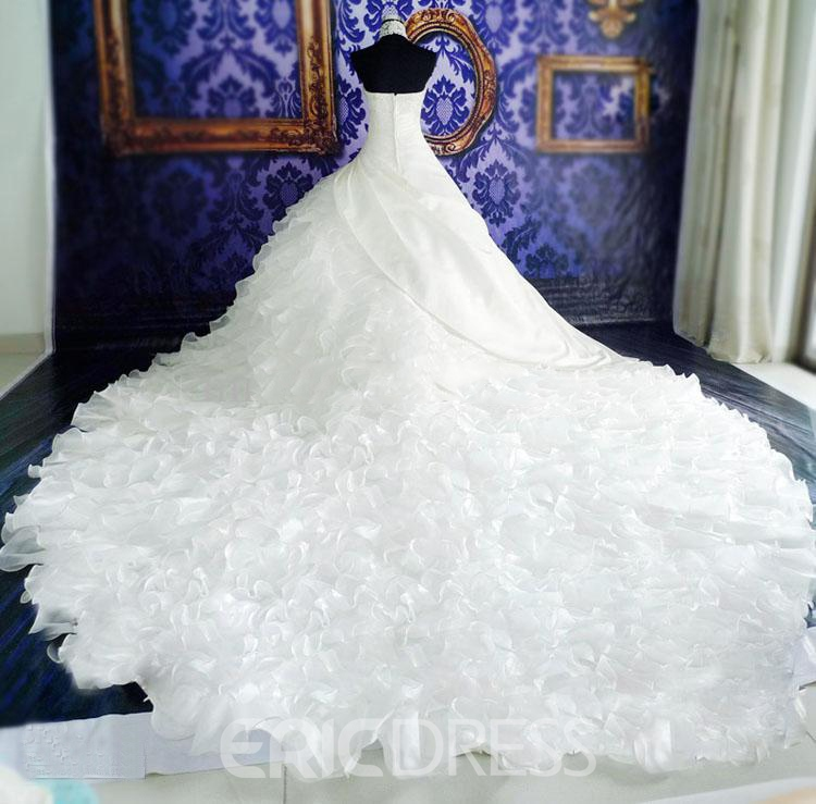 Stunning Tiered Cathedral Halter Organza Beaded Lace Wedding Dress