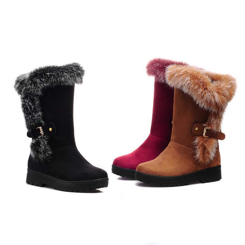 Sweet Furry Buckles Snow Boots