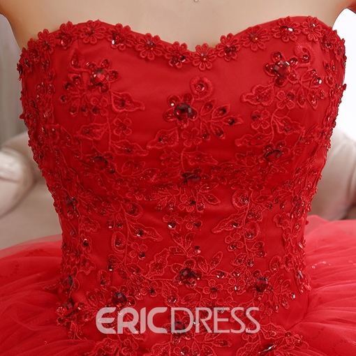 Ericdress Strapless Appliques Beading Ball Gown Red Wedding Dress