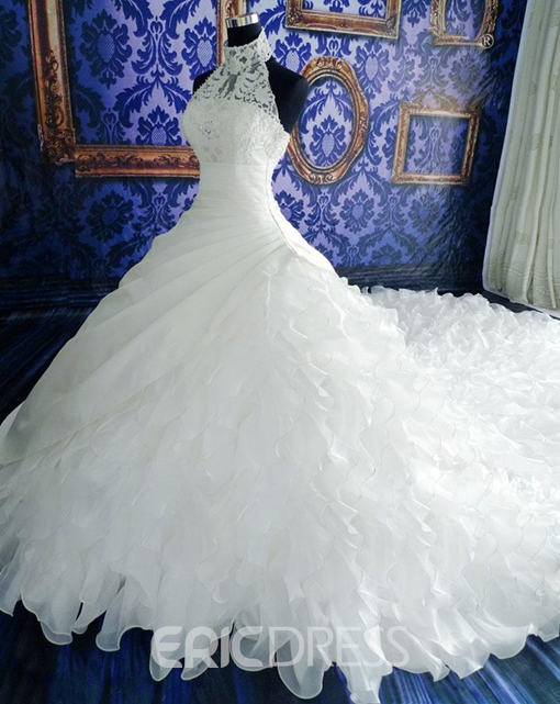 Ericdress Halter Lace Beaded Cathedral Train Wedding Dress