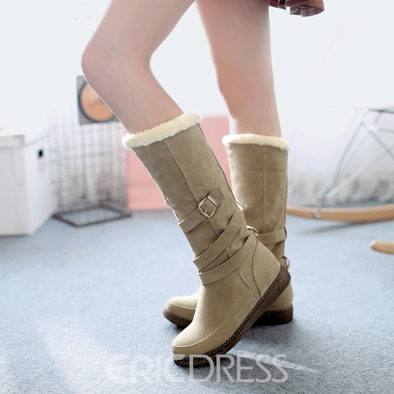Korean Sweet Buckles Decoration Suede Ankle Boots