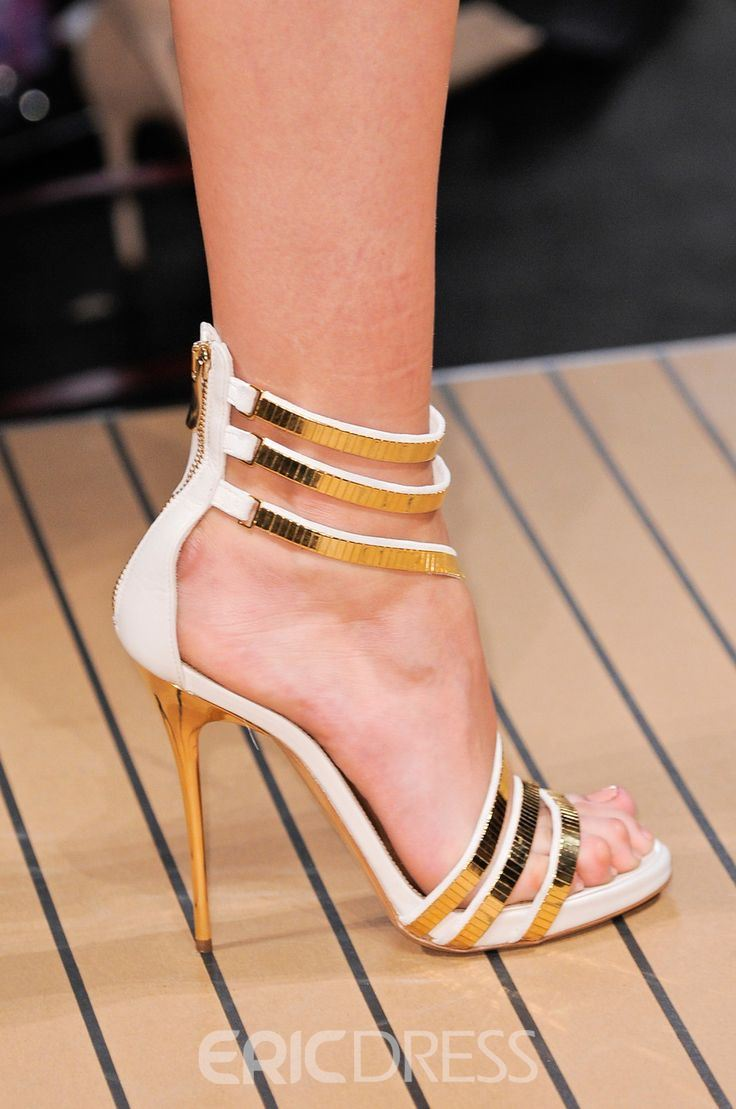 Chic White Stiletto Sandals with Metal Decoration