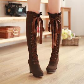 European Lace-up Suede Knight Knee High Boots