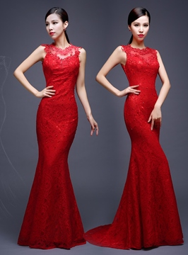 Ericdress Sheath Mermaid Applique Lace Evening Dress