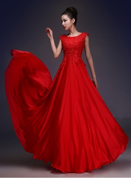 Ericdress Cap Sleeves Beading Red Prom Dress 2019