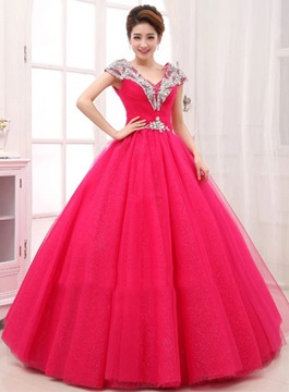 Glamorous V-Neck Lace-Up Ball Gown Quinceanera Dress