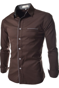 Lapel Single-Breasted Long Sleeves Men's Shirt