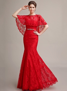 Mermaid Sweetheart Beading Lace Lace-up Long Evening Dress With Jacket/Shawl