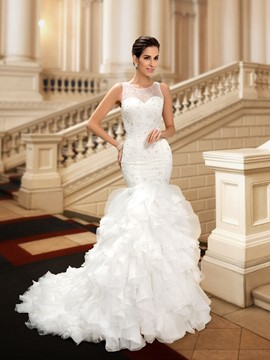 Ericdress Beading Ruffles Mermaid Wedding Dress
