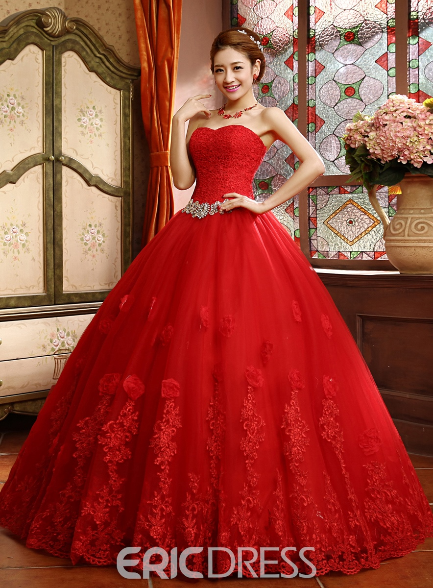Classy Sweetheart Beading Lace Ball Gown Wedding Dress