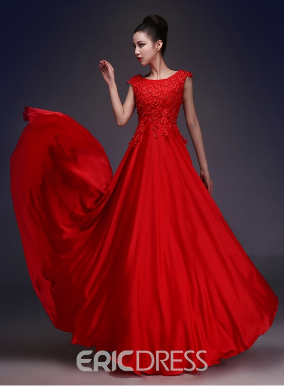 Ericdress Cap Sleeves Beading Red Prom Dress