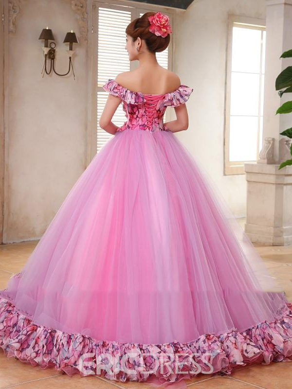 Ericdress Off The Shoulder Handmade Flower Lace-Up Ball Gown Dress