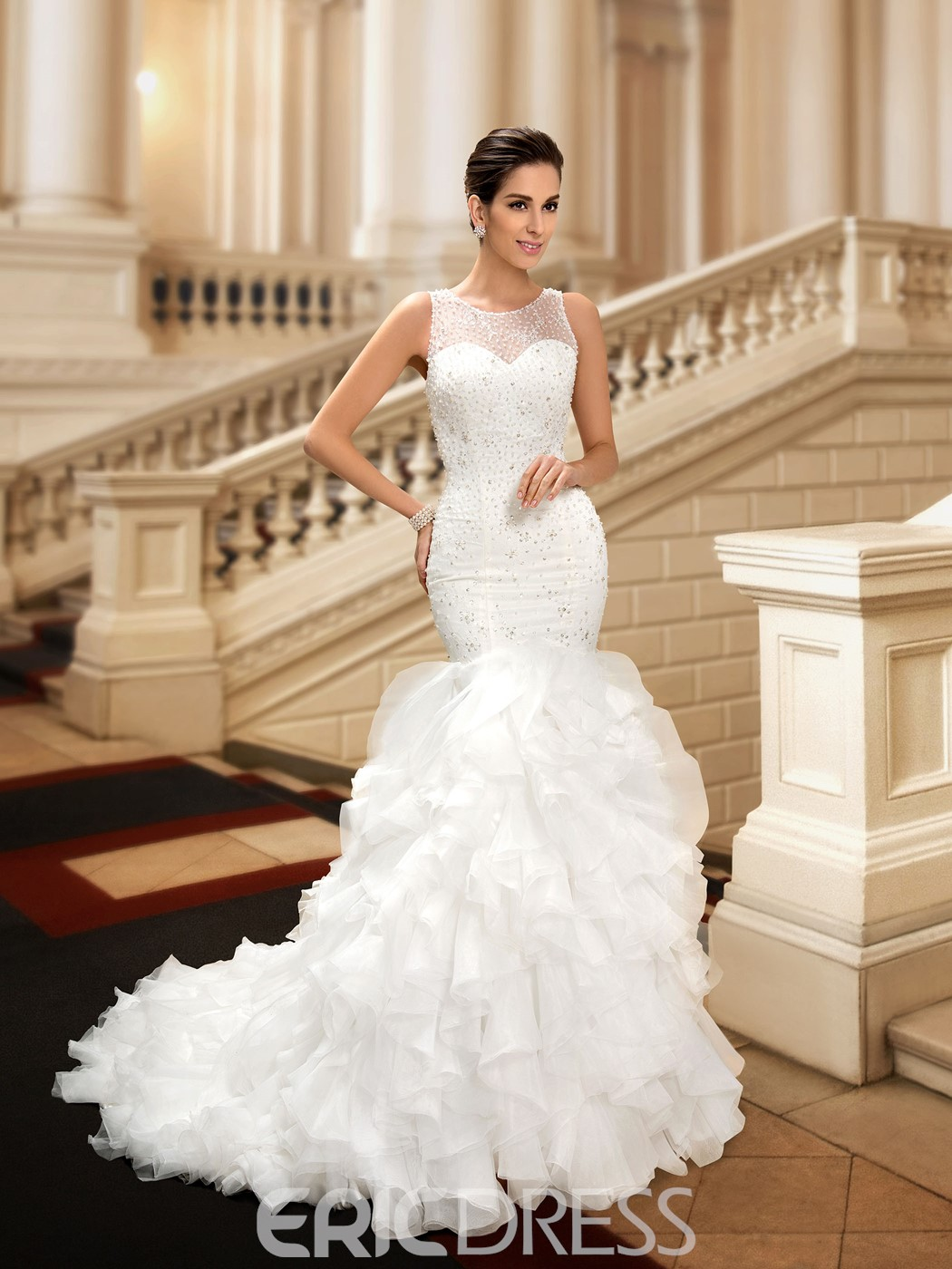 Charming Jewel Beading Tiered Mermaid Wedding Dress 11096093 ...