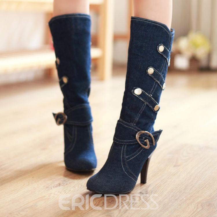 All-matched Chic Denim Knee High Boots with Buckle