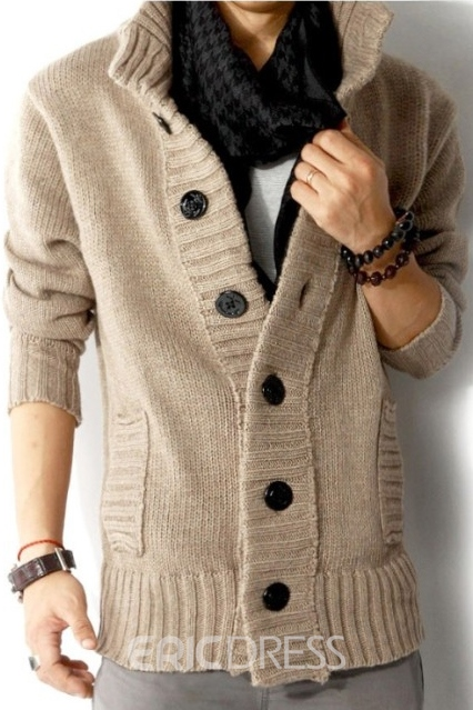 Stand Collar Single-Breasted Men's Cardigan