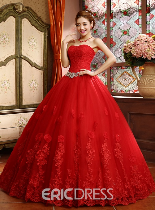 Ericdress Sweetheart Beading Lace Red Wedding Dress
