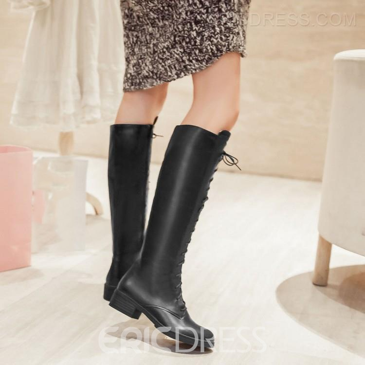 Preppy Lace-up Knight Knee High Boots