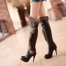 Sexy Faux Fur Buckle Knee High Stiletto Heel Boots