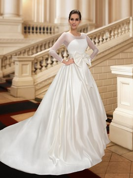Classy Jewel Bowknot A-Line Court Train Long Sleeves Wedding Dress