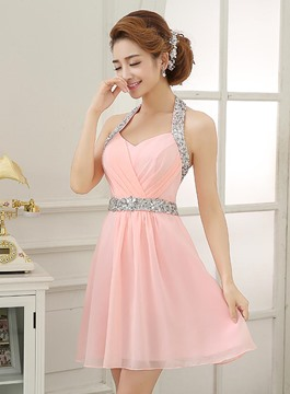 Étincelante Halter perles court Homecoming robe