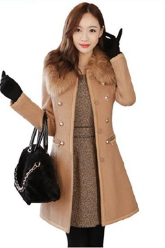 Ericdress épais couleur unie Slim Coat
