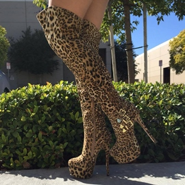 Ericdress Leopard Round Toe Stiletto Heel Women's Knee High Boots