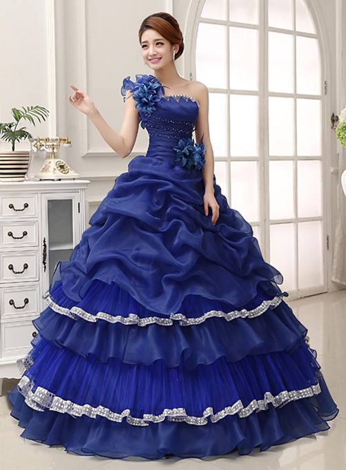Classical One-Shoulder Cascading Ruffles Ball Gown Quinceanera Dress